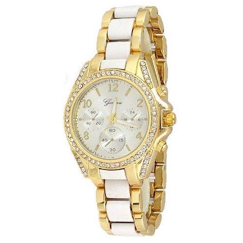 Gold Weiss Kristall Luenette Designer Fashion Armbanduhr Geneva Boyfriend