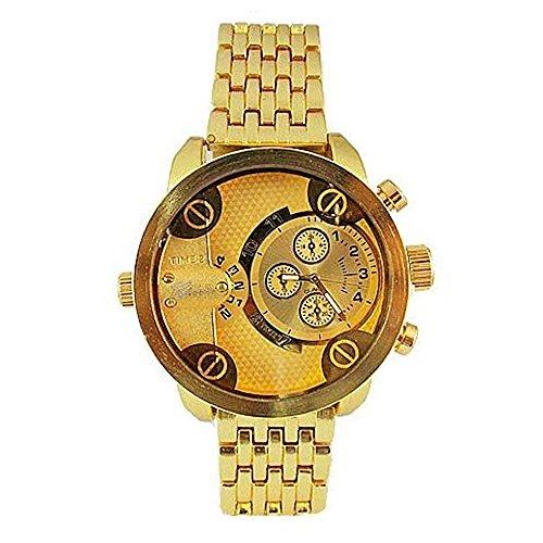Dual Time Gold Watch Metall Herren Geneva Fashion Designer grossen stilvollen