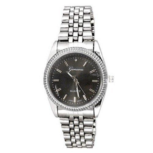 Neue SilberSchwarz Uhr Genf Mode Luxuxgeschenk Herren Metallband
