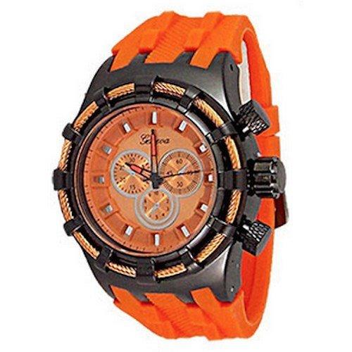 Orange Herren Genf Uhr Modedesigner Maxi Sport Silikon Kasten