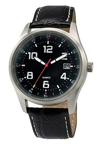 Schwarz Sport Armbanduhr Luxus Leder Band Quarz Handgelenk Herren Fashion Analog weiss
