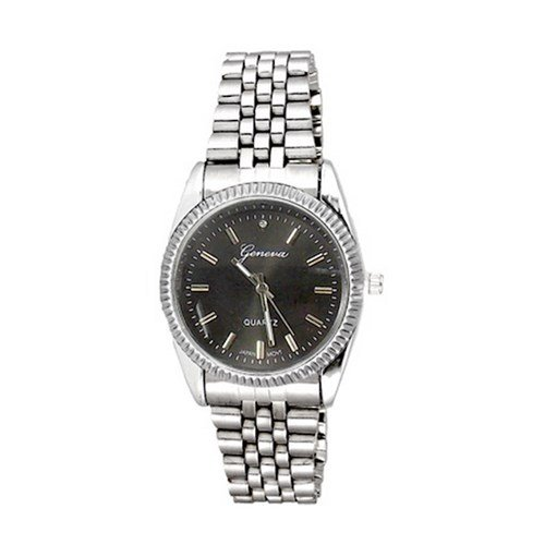 New Silber Black Watch Geneva Fashion Luxus Geschenk Herren Metall Band