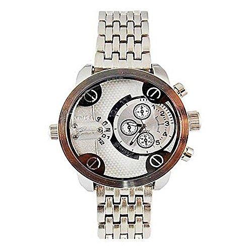 Dual Time Silber Metall Herren Geneva Fashion Designer grossen stilvollen