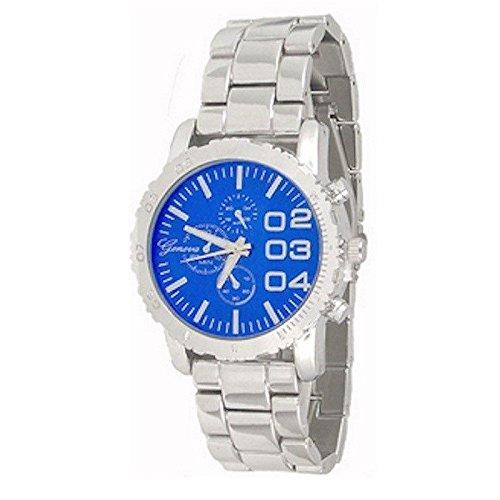 Silber Blau Genf Uhr Metallkasten Herren Freund Entwerfer Mode