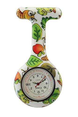 Censi Green Caterpillar Druck weisses Zifferblatt mit Datum Silikon Krankenschwester AErzte Tunika Brosche FOB Uhr Quarz mit extra Batterie
