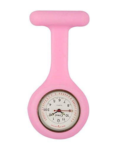 Censi Hell Pink Silikon Krankenschwester FOB Uhr Tunic Brosche Datum auf dem Zifferblatt Analog Japanisch Quarzwerk Extra Akku
