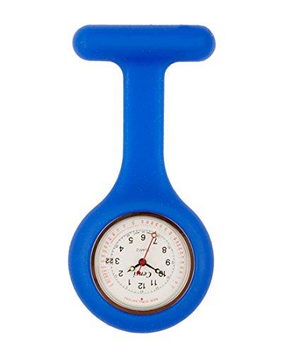 Censi Koenigsblau Silikon Krankenschwester FOB Uhr Tunic Brosche Datum auf dem Zifferblatt Analog Japanisch Quarzwerk Extra Akku