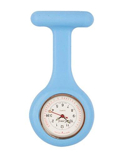 Censi Hellblau Silikon Krankenschwester FOB Uhr Tunic Brosche Datum auf dem Zifferblatt Analog Japanisch Quarzwerk Extra Akku