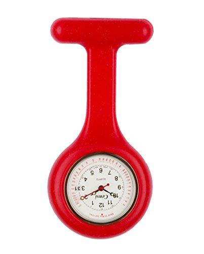 Censi Rot Silikon Krankenschwester FOB Uhr Tunic Brosche Datum auf dem Zifferblatt Analog Japanisch Quarzwerk Extra Akku