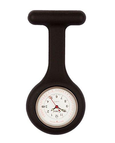 Censi Schwarz Silikon Krankenschwester FOB Uhr Tunic Brosche Datum auf dem Zifferblatt Analog Japanisch Quarzwerk Extra Akku