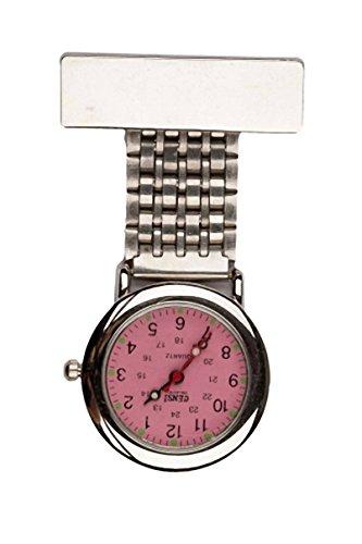 Censi Traditionelle Silberfarbene Taschenuhr Krankenschwestern Uhr mit rosa Zifferblatt Unisex fuer AErzte