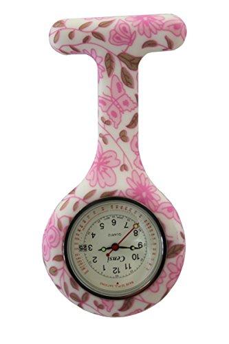 Censi rosa Blumen weisses Zifferblatt mit Datum Silikon Krankenschwester AErzte Tunika Brosche FOB Uhr Quarz mit extra Batterie