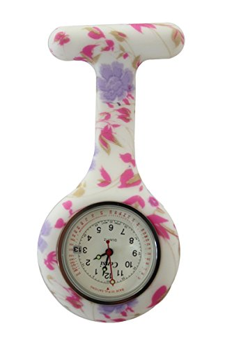 Censi lila rosa Blumen weisses Zifferblatt mit Datum Silikon Krankenschwester AErzte Tunika Brosche FOB Uhr Quarz mit extra Batterie