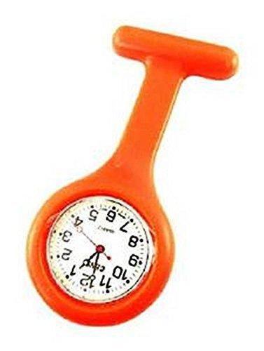 Medizinische Taschenuhr mit Kittelbrosche Orange Silikon fuer Krankenschwester Doktor Sanitaeter