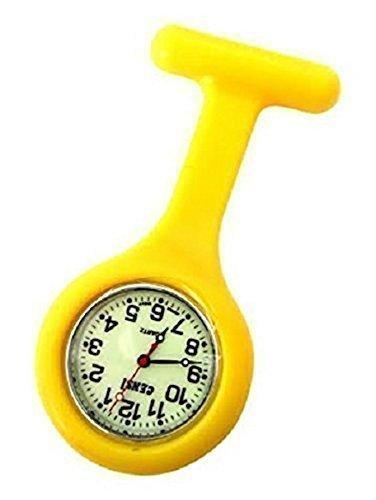 Medizinische Taschenuhr mit Kittelbrosche Gelb Silikon fuer Krankenschwester Doktor Sanitaeter