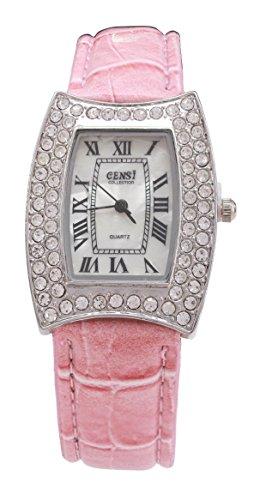 CENSI Damen silberne Luenette Rosa PU Leder Armband Mutter Perle Gesicht Diamante Analog Quarz zusaetzliche Uhrenbatterie