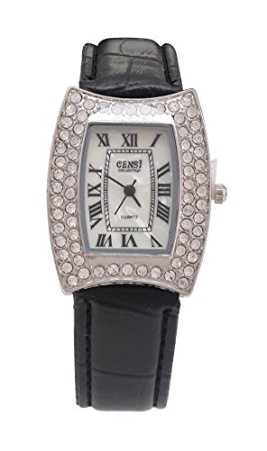 CENSI Damen silberne Luenette schwarz PU Leder Armband Mutter der Perle Gesicht Diamante Watch Analog Quarz mit einem zusaetzlichen Akku