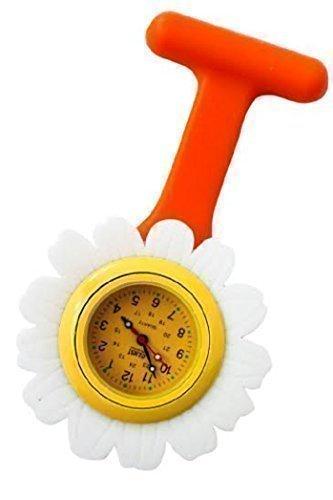 Daisy Floral Funky Orange Silikon Krankenschwester Arzt Tunika Brosche Taschenuhr zusaetzlichen Akku