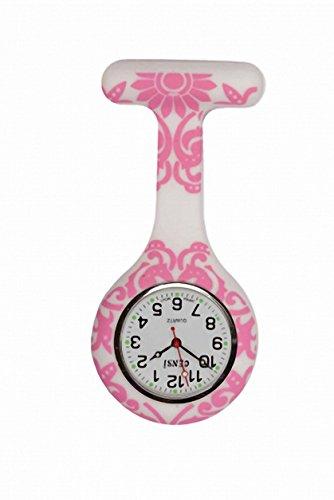 Taschenuhr Gel Silikon Pink Funky Blumenmotiv fuer Krankenschwester Doktor Sanitaeter waschbar Unisex