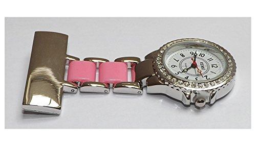uWANTit Taschenuhr Design zweifarbig mit Glitzersteinchen ideal fuer Krankenschwestern AErzte Rosa Silberfarben