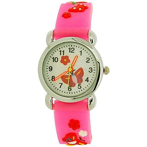 Relda Childrens Maedchenuhr roter Schmetterling rosa Silikonarmband REL43