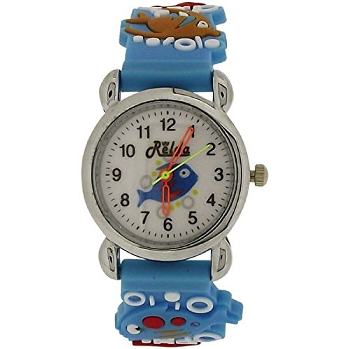 Relda Childrens 3D Jungen Fisch im Wasser Uhr blaues Silikonarmband REL86