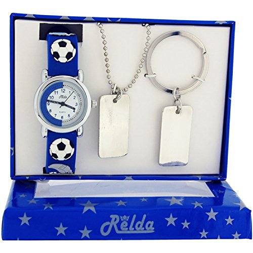 Relda Jungen Fussballuhr Hundemarke Halskette Schluesselring Geschenkset REL49