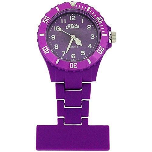 Relda Unisex violette gummierte Schwesternuhr Drehluenette Rel18