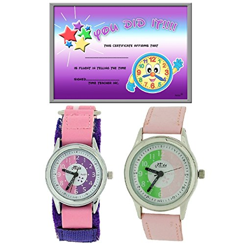 2x Relda Zeitlern Kinderuhr rosa Armband Verschlussschnalle Maedchengeschenkset