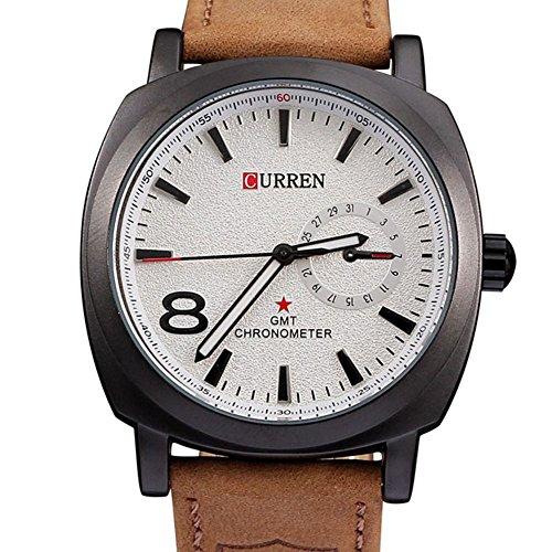 Business casual Lederband wasserdichte Uhr einfachen Stil Herren White
