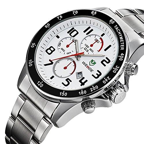 Fashion Business multifonctionnel wasserdicht en acier inoxydable montre a Quarz Montre homme blanc