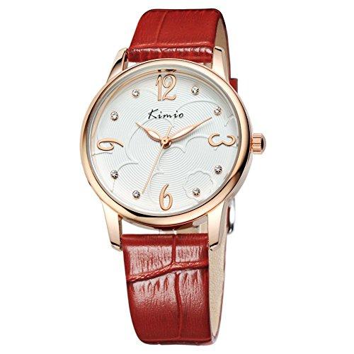 Fashion Frau Retro Diamant Uhr Uhren im minimalistischen Tabelle Red