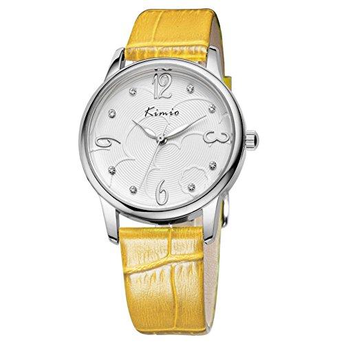 Fashion Frau zeigt minimalistischen Retro Tabelle Diamant Uhren Gelb