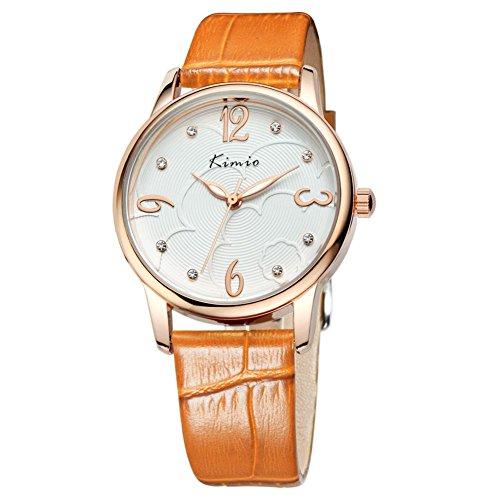 Fashion Frau zeigt minimalistischen Retro Tabelle Diamant Uhren Orange