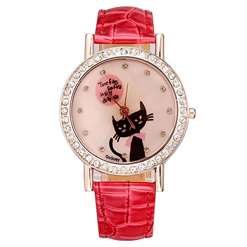 Neue Uhr der Frauen Rotgold voller Diamanten Fall zeigt das Modell Katzen Red