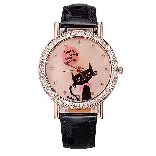 Neue Uhr der Frauen Rotgold voller Diamanten Fall zeigt das Modell Katze schwarz