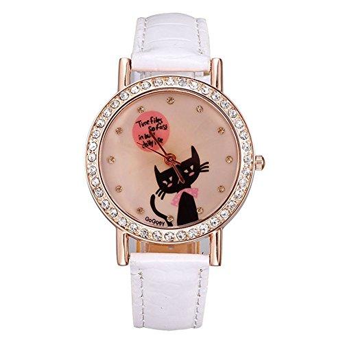 Neue Uhr der Frauen Rotgold Fall voller Diamanten Uhren Vorlage Katzen White