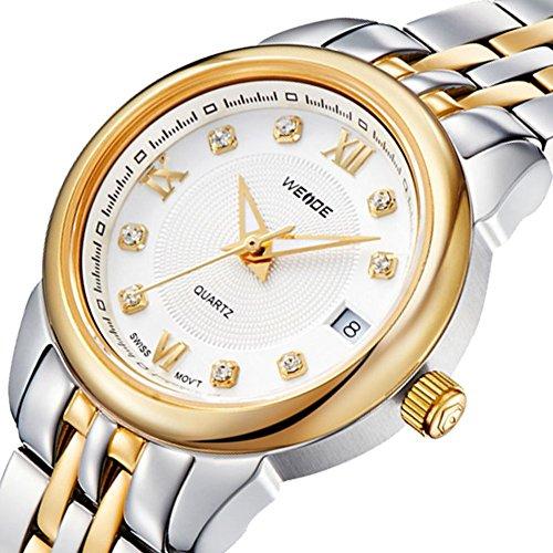 Le luxe des hommes de montres en acier inoxydable Armband de montre avec calendrier en oder