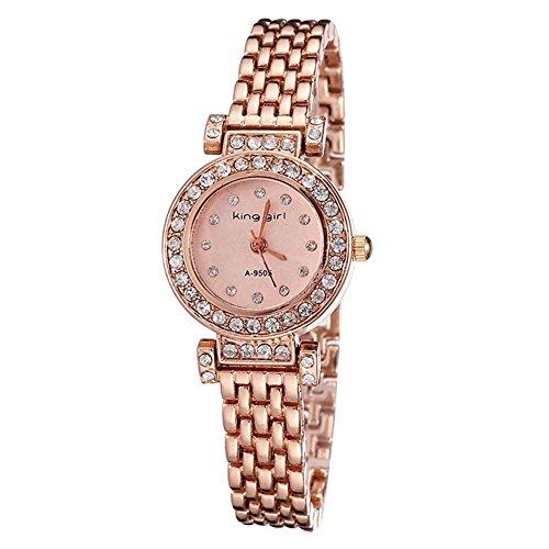 Koreanische Version des vollen rosa Diamant Frauen Uhr Golduhren Gold