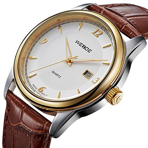 Modus loisirs et Business origine Gold frame de Armband en cuir Quarz montres hommes