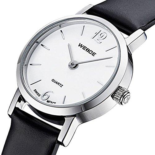 Les montres des hommes Elegants Cuir naturel bande Quarzuhr blanc
