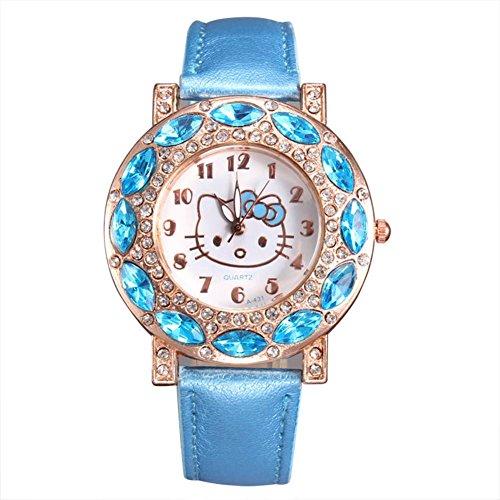 Neue girls Mode niedlichen Kitty Katze Uhren Hellblau
