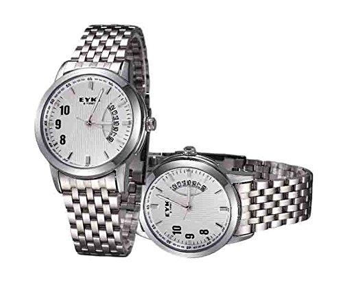Stahlband Fashion Uhren paar Business x2 White