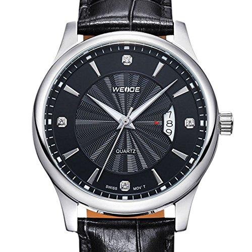 Stil Design haut de gamme Casual sangle tendance en cuir noir montres hommes noir