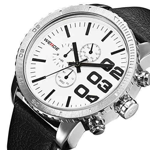 Der Trend der Mode Lederarmband Armbanduhr Quarz Uhren White