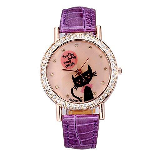 New Uhr weibliche voller Diamanten Rotgold Uhr Katzen Muster lila