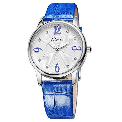 Weise Diamant Uhren retro minimalistischen Tabelle blau