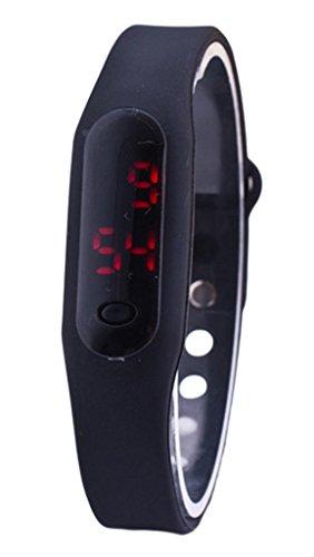 EOZY Unisex Sportuhr Armbanduhr Digital LED Silikonarmband Watch Schwarz