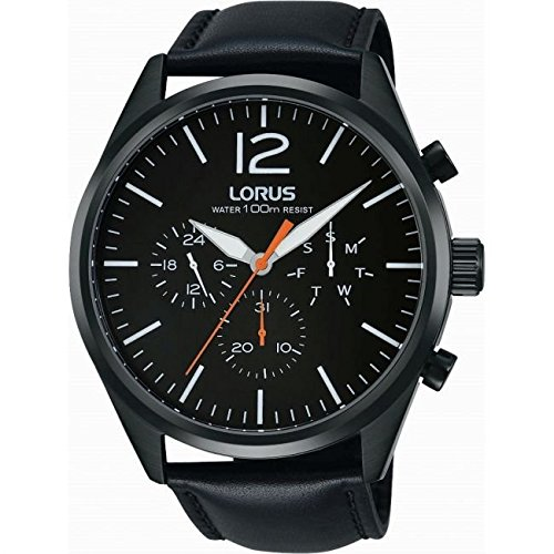 Lorus Gents Multi Dial Black Strap Watch