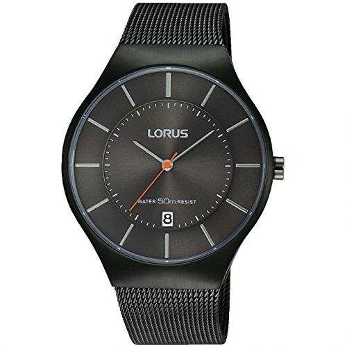 Lorus von Seiko rs987bx9 Herren Schwarz Ion Versilbert Watch 50 m Datum